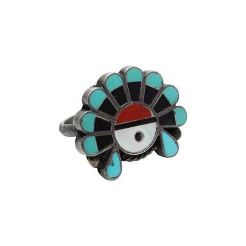 Vintage Native American Jewelry Silver / US 7 Inlay Turquoise Native American Ring