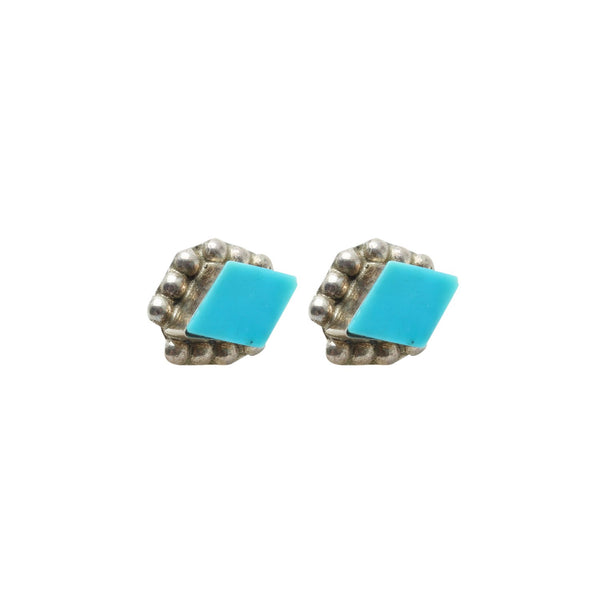 Vintage Native American Jewelry Silver Turquoise Diamond Stud Earrings