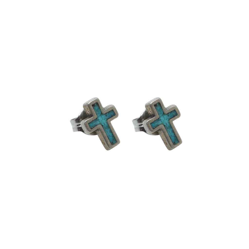 Vintage Native American Jewelry Silver Turquoise Cross Stud Earrings