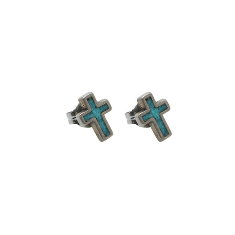 69b07431c Vintage Native American Jewelry Silver Turquoise Cross Stud Earrings