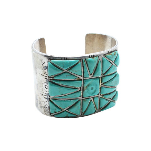 Brian's Boss Jewelry Silver Turquoise Mosaic Native American Cuff