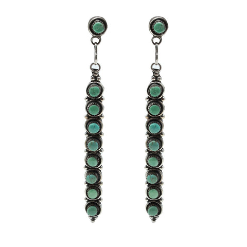 Al Zuni Jewelry Silver Green Mountain Native American Earrings