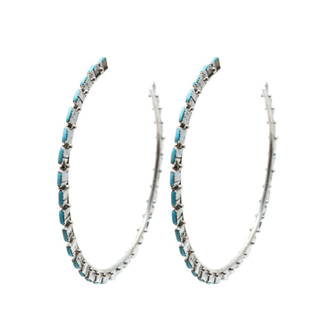 Al Zuni Jewelry Silver Turquoise Hoop Native American Earrings