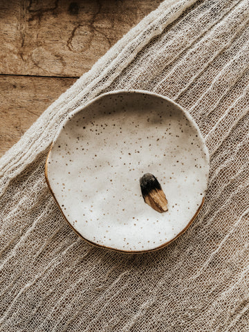 Earth + Element Objects White / FINAL SALE Ceramic Incense Dish