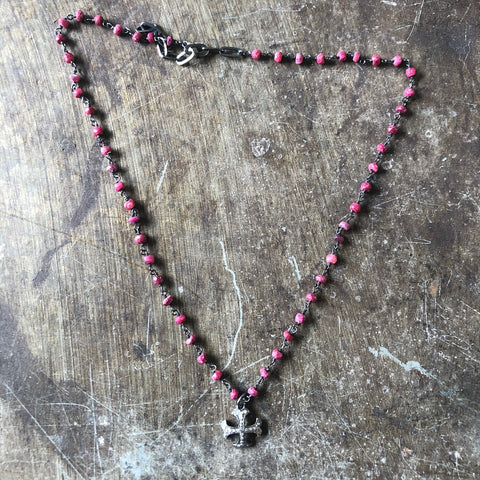 Vintage dead stock Rose Pave Rosary Necklace