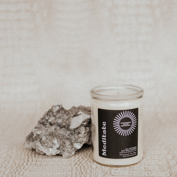 Often Wander Objects 12 oz / Frankincense, Vetiver, + Cedarwood / FINAL SALE Meditate Essential Oil Candle