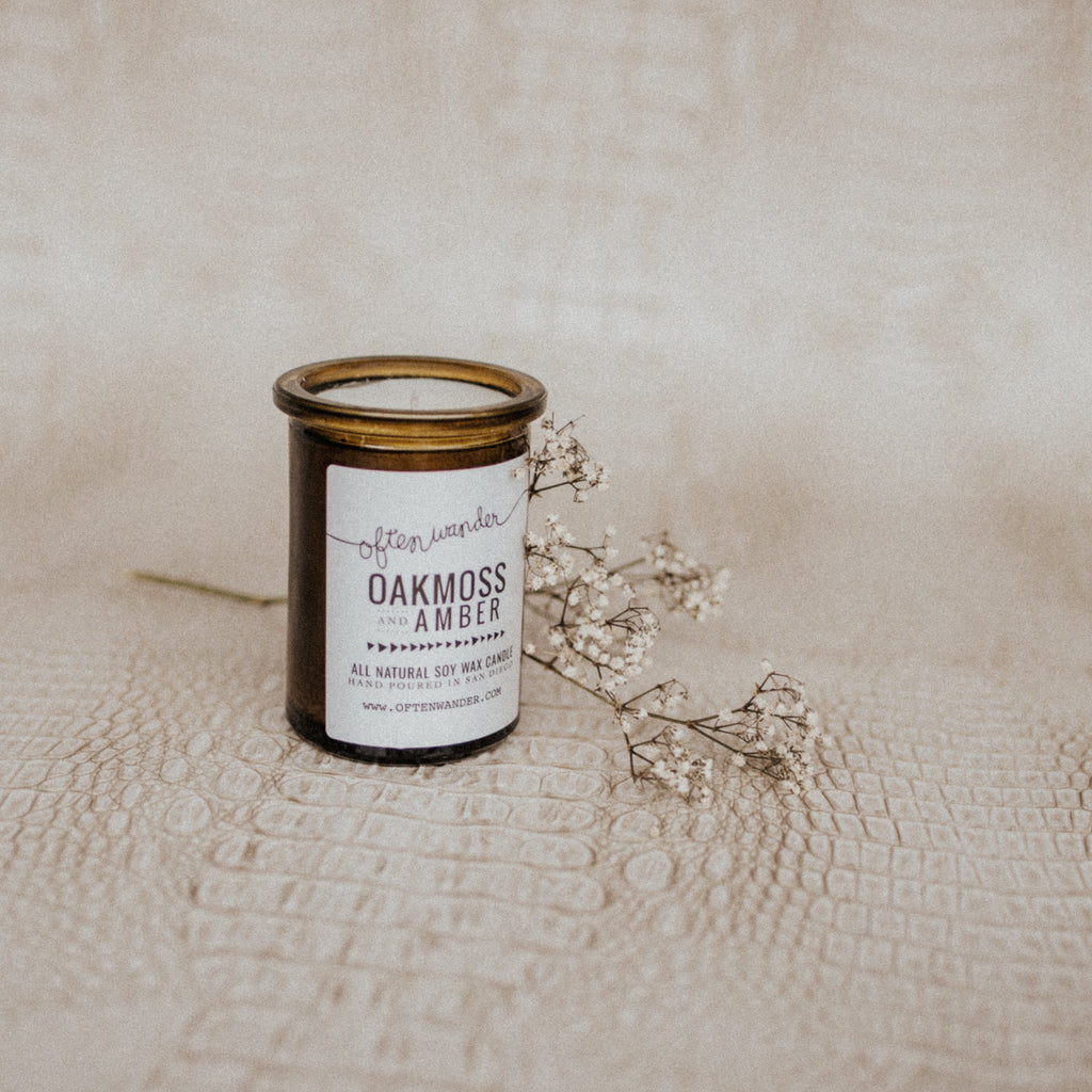 Often Wander Objects 6 oz / Oakmoss + Amber / FINAL SALE Oakmoss + Amber Apothecary Candle