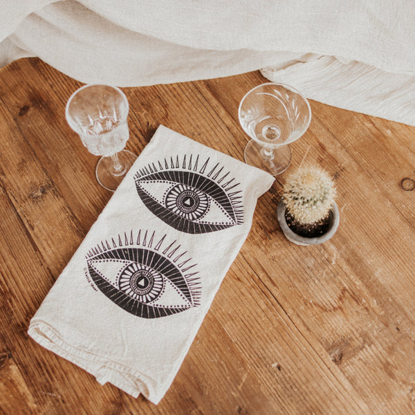 Native Bear Objects Black / FINAL SALE Seeing Eye Tea Towel