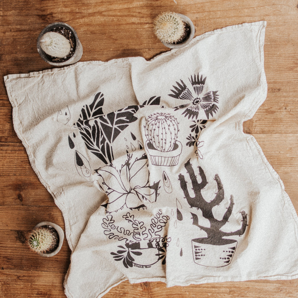 Native Bear Objects Black Hearty Plants Tea Towel
