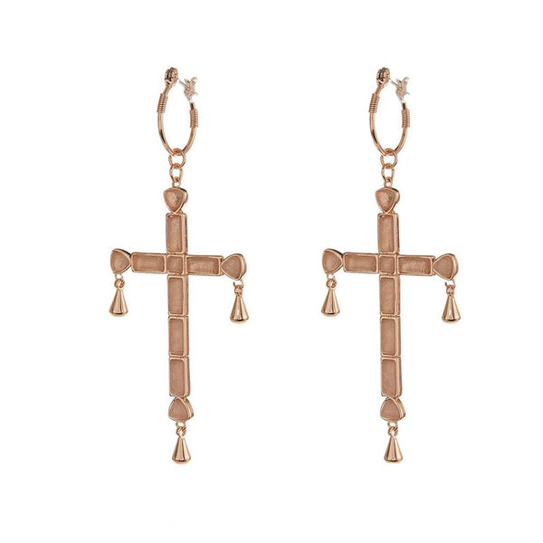 LUV AJ Jewelry Rose Gold Quartz Cross Statement Hoops