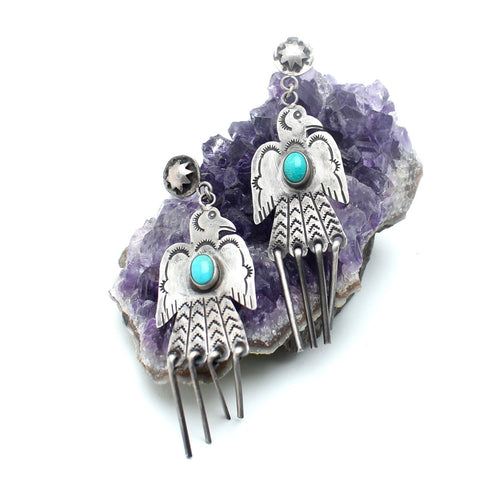 Stamped Thunderbird Vintage Native American Earrings - Child of Wild  - 1