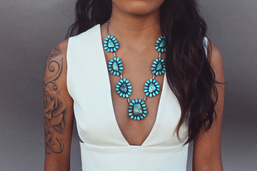 Turquoise Flower Navajo Necklace - Child of Wild  - 4