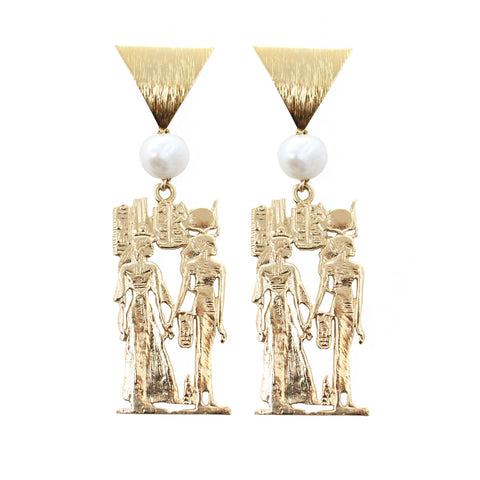 Goddess Jewelry Gold Queen Nefertari Earrings