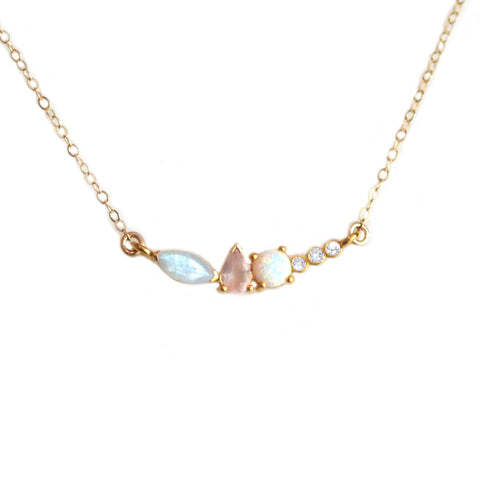 Rainbow Moonstone, Opal, Rose Quartz, and Diamond Wish Pendant - Child of Wild  - 1