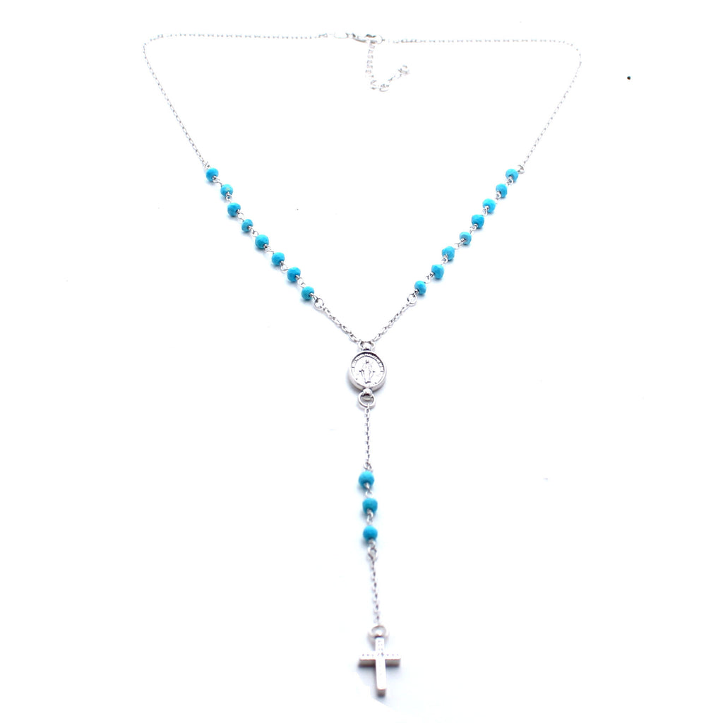 CW collection Jewelry Silver/Turquoise / 18 Inches Redemptions Rosary Necklace
