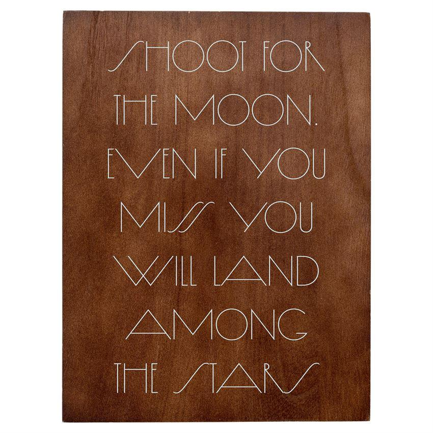 "Bloomingville Objects Wood / 11.75 x 15.75 / FINAL SALE ""Shoot for the Moon"" Wall Decor"