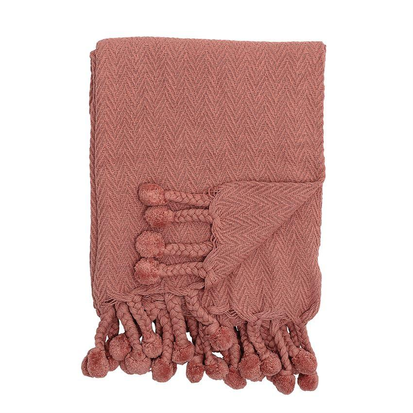 Bloomingville Objects Pink / FINAL SALE Woven Pom Pom Throw