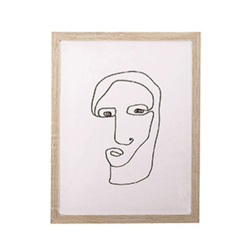 Bloomingville Objects 13.75 X 17.75 / Natural Abstract Face Wall Decor