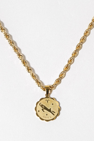 Aimvogue Jewelry Leo / Gold / 14 Inches Divination Zodiac Necklace