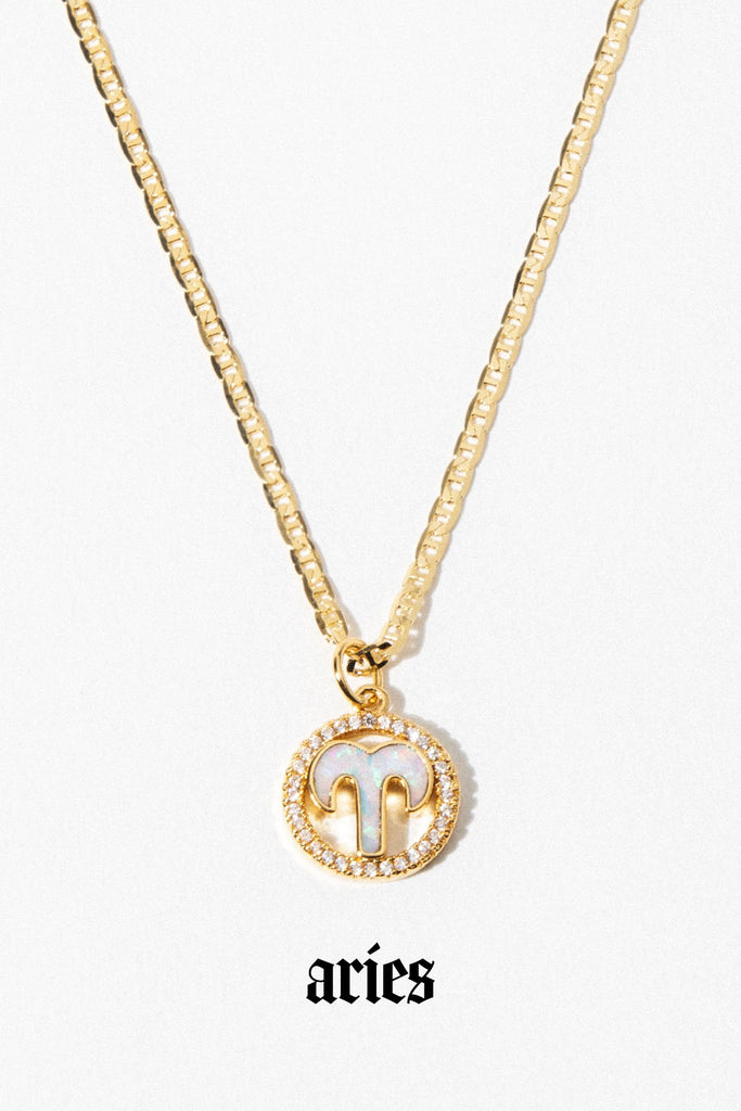 Aimvogue Jewelry Aries / Gold / 18 Inches Opal Zodiac Necklace