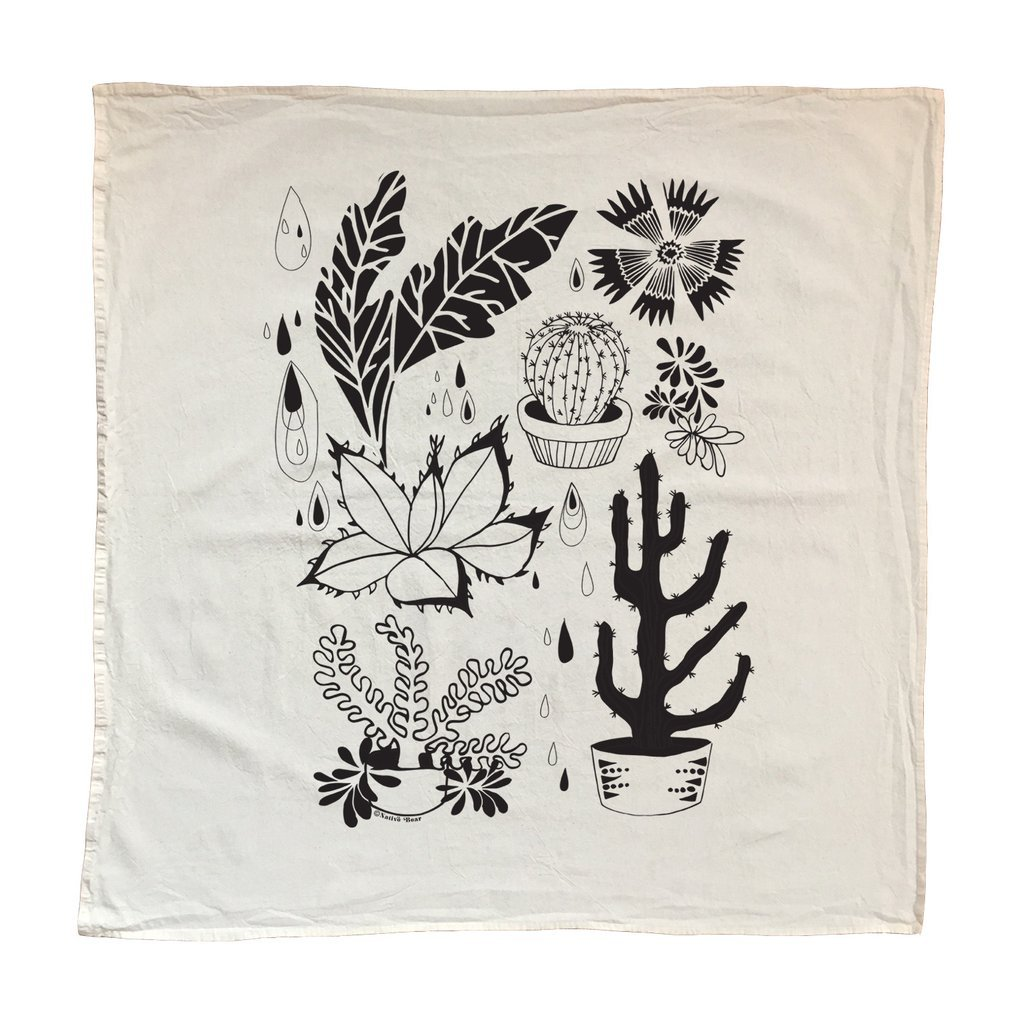 Native Bear dead stock Black Hearty Plants Tea Towel