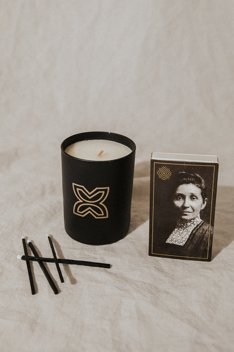 Ethics Supply Co Objects Sultry Black Amber and Oak / FINAL SALE Susan La Flesche Picotte Candle and Matchbox