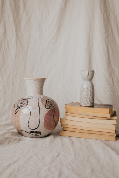 Bloomingville Objects Beige / FINAL SALE Stoneware Vase with Face