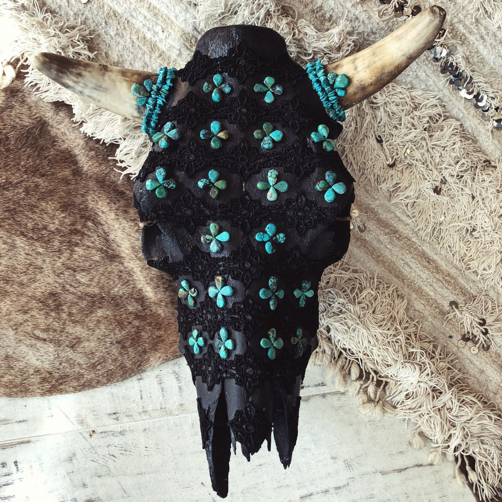 Child of Wild Bones Turquoise / Short Horn Aiyana Cow Skull