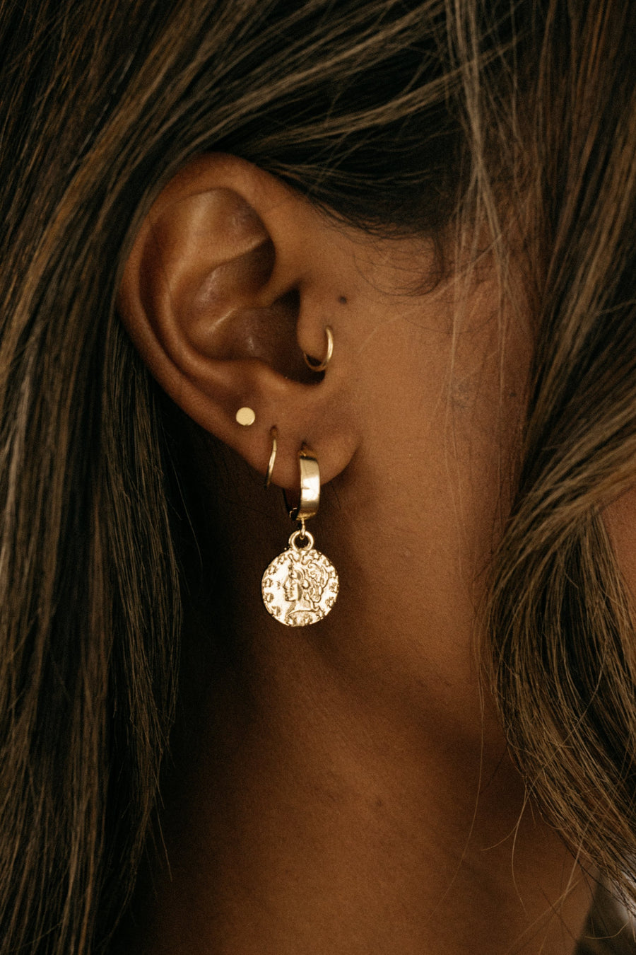 Goddess Jewelry Gold Stella Coin Earrings