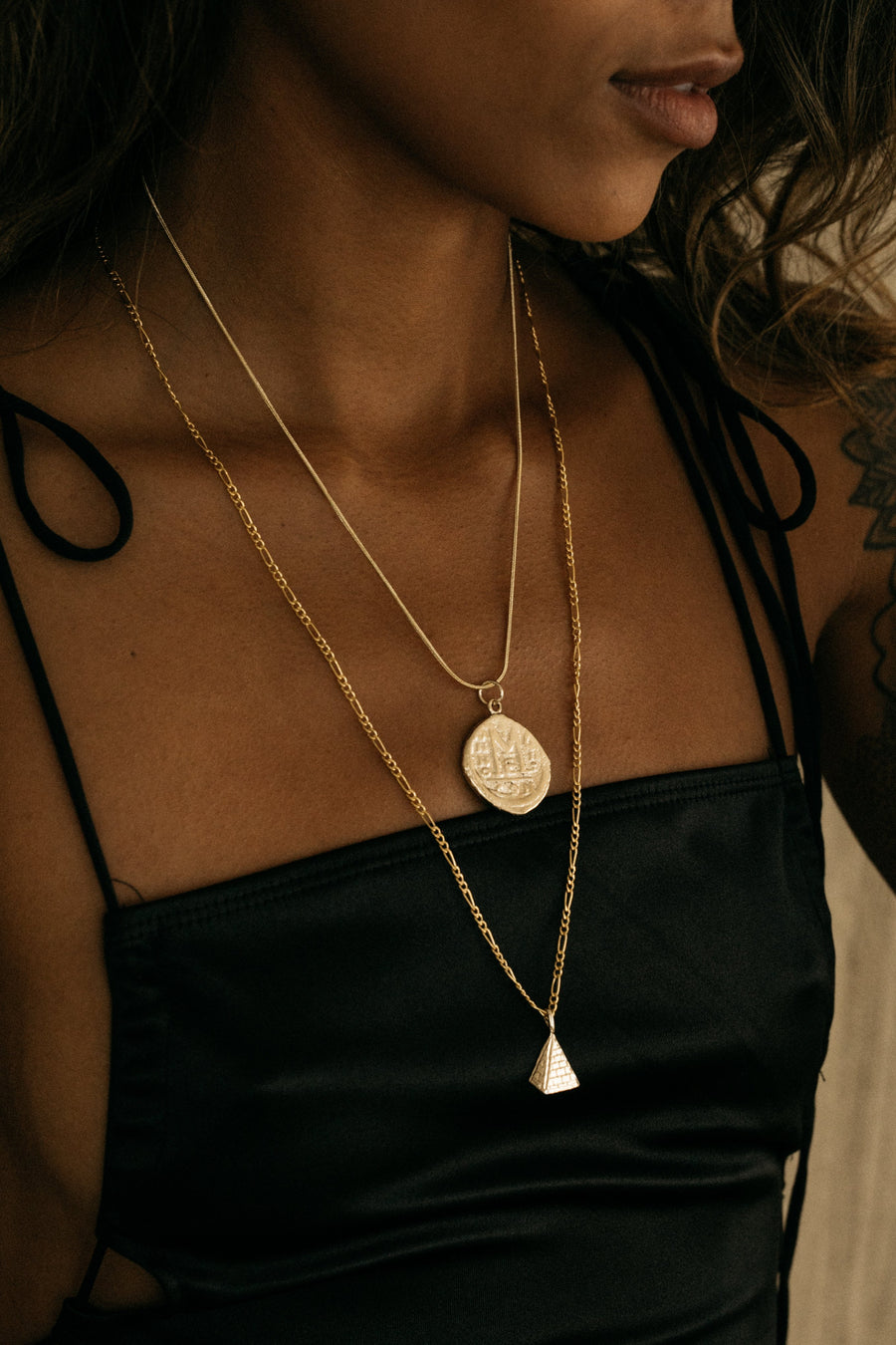 CGM Jewelry Gold Unisex Pyramid Necklace