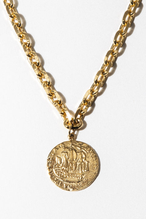 Goddess Jewelry Gold / 18 Inches Zeeland Coin Necklace