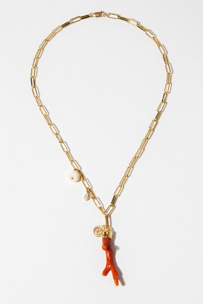Goddess Jewelry 16 Inches / Gold Lucky Coral Necklace