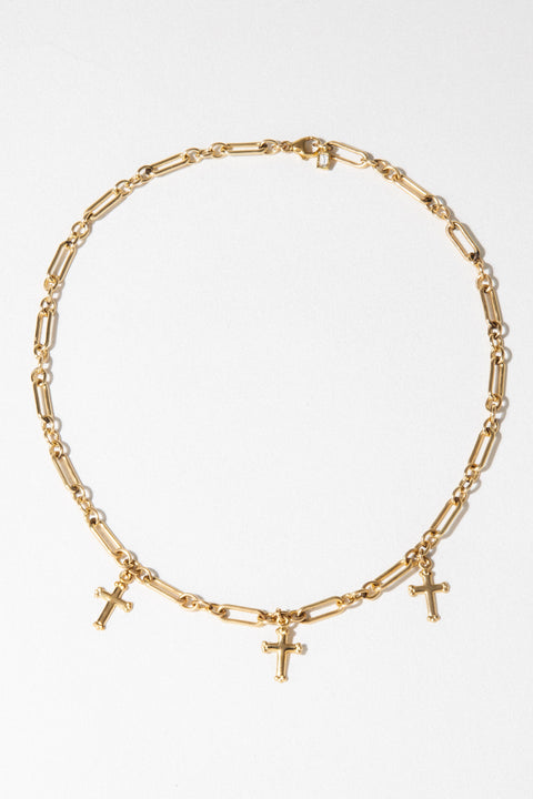 CGM Jewelry Gold / Figaro / 12 Inches Divinity Cross Choker