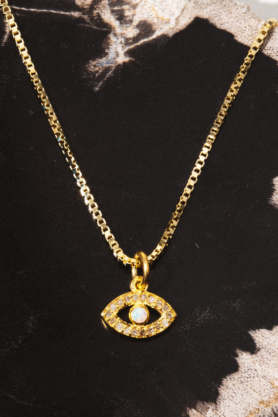Tresor Jewelry 14 Inches / Opal Evil Eye Pavè Diamond Necklace
