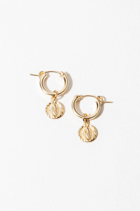CGM Jewelry Gold / Pair Lady Guadalupe Earrings