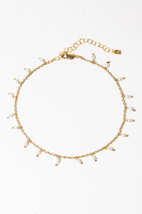 Goddess Jewelry Gold Dainty Pearl Anklet