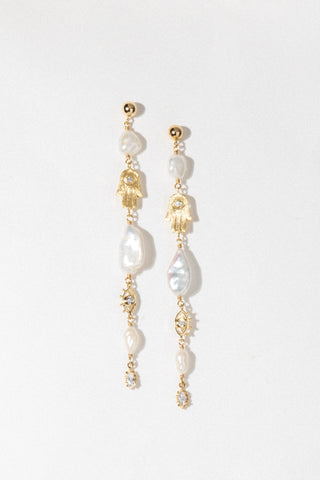 Moonstone Chain Drop Earrings - Child of Wild