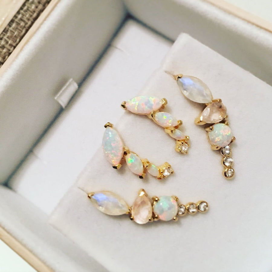 LA KAISER Jewelry Rainbow Moonstone and Opal Wing Climbers