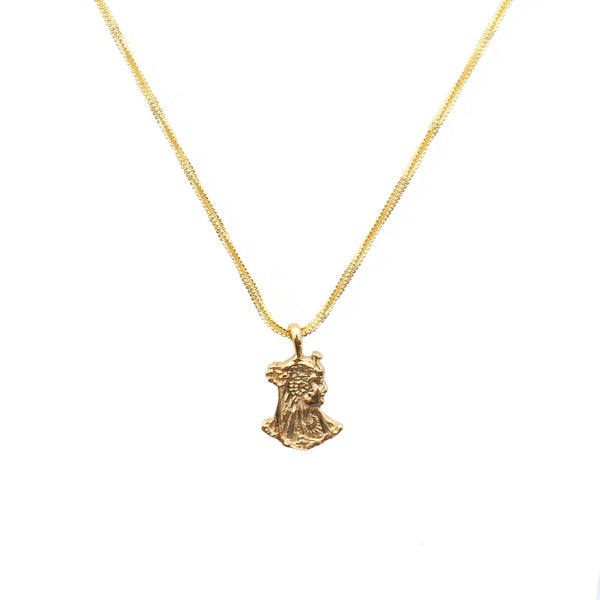 Dona Italia Jewelry Gold Serpent Goddess Necklace
