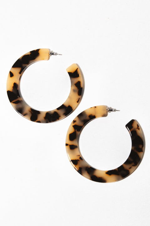 Machete Jewelry Blonde Tortoise Grande Flat Hoops
