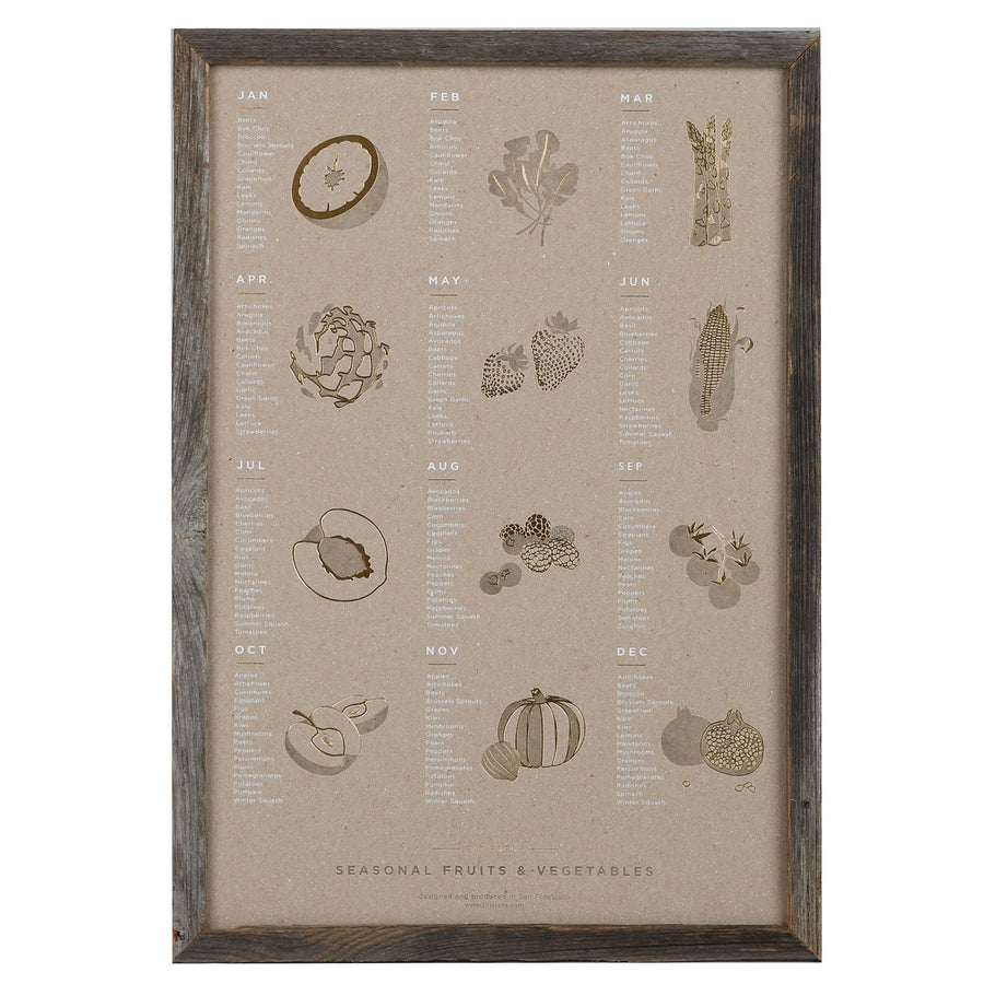 Young America Creative Objects Fruits and Vegetables / Gray / FINAL SALE Fruits and Vegetables Seasonal Poster