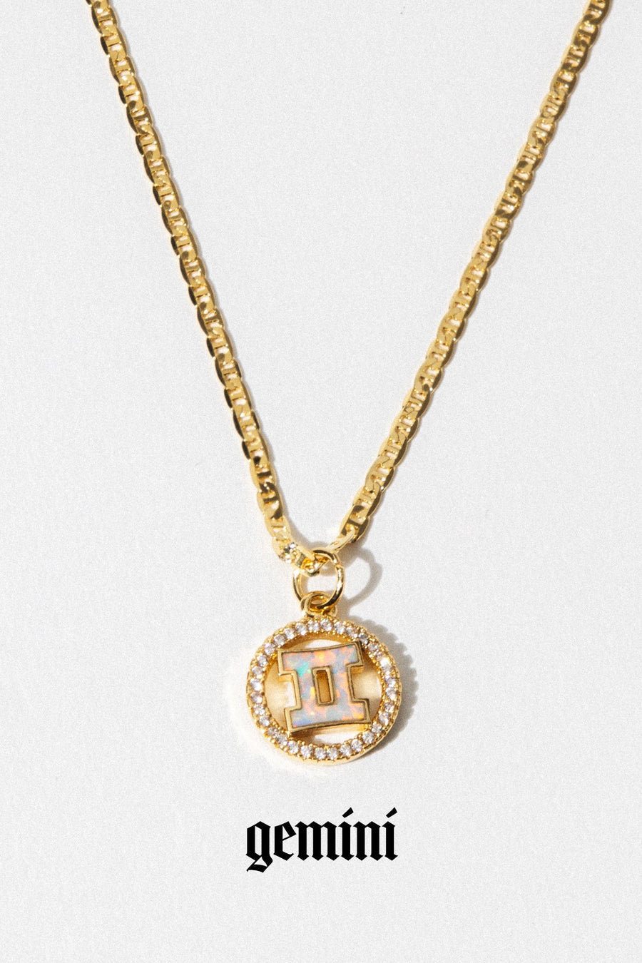 Aimvogue Jewelry Gemini / Gold / 18 Inches Opal Zodiac Necklace