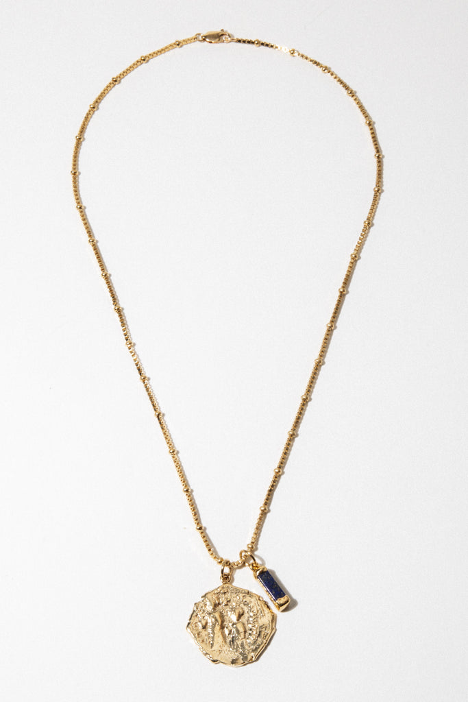 Goddess Jewelry Gold / 18 Inches Serenity Lapis Necklace
