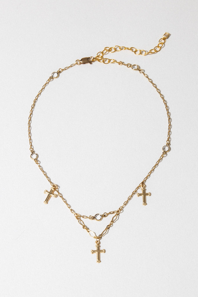 Goddess Jewelry Gold / 12 Inches Trinity Cross Choker