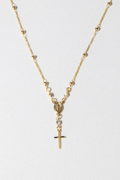 Dona Italia Jewelry Gold / 18 Inches / CZ Rhinestones Positano Rosary Necklace