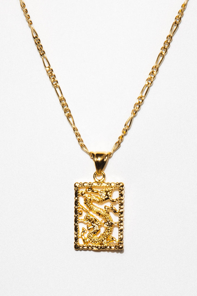 Aimvogue Jewelry 20 Inches / Gold Fire Dragon Necklace