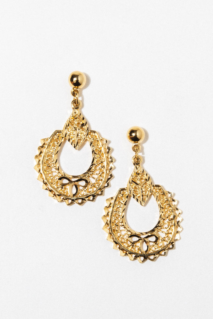 Goddess Jewelry Gold Teardrop Orchid Earrings