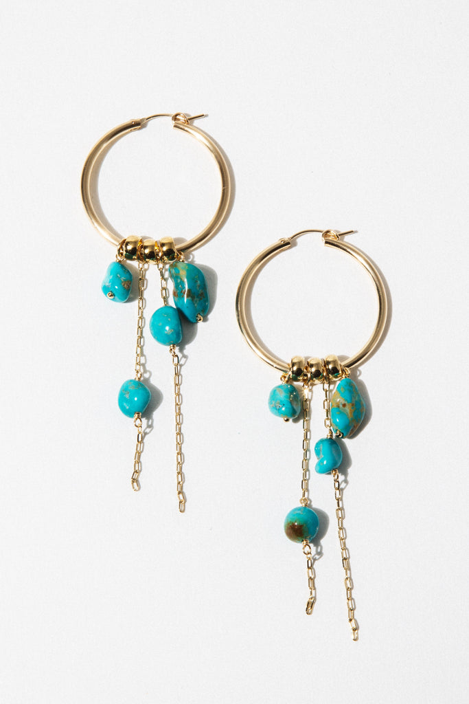 CGM Jewelry Gold Nymph Turquoise Earrings