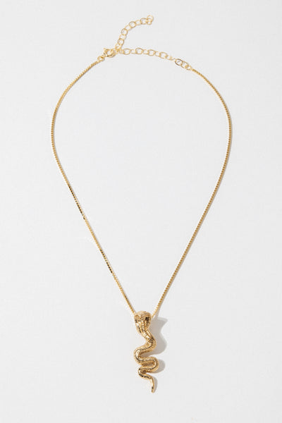 Dona Italia Jewelry Gold / 14 Inches Gold Cobra Necklace