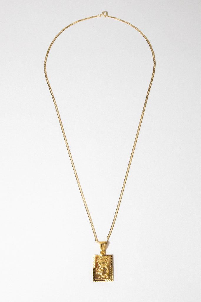 Dona Italia Jewelry 24 Inches / Gold Lucky Dragon Necklace